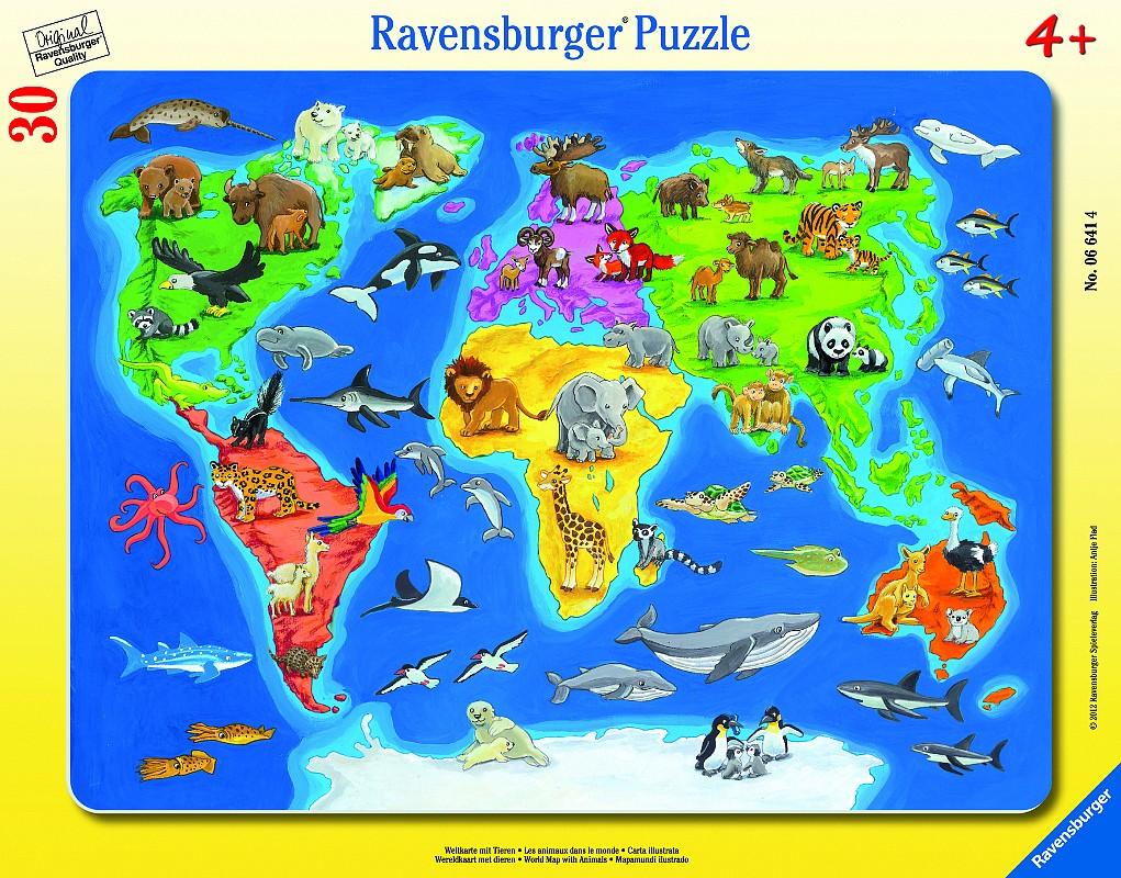 Mapa sveta so zvieratami 30-48D