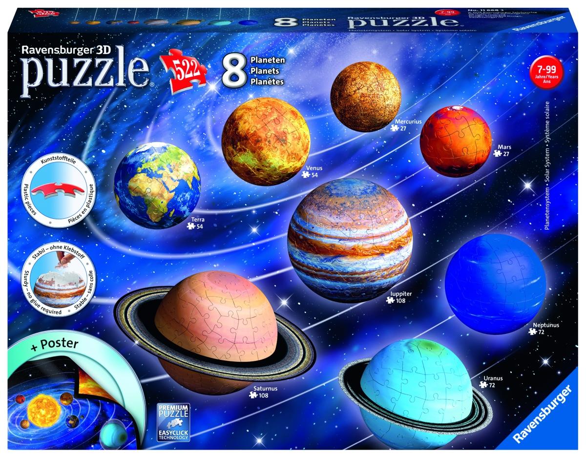 Planetárna sústava; 522 dielikov 3D