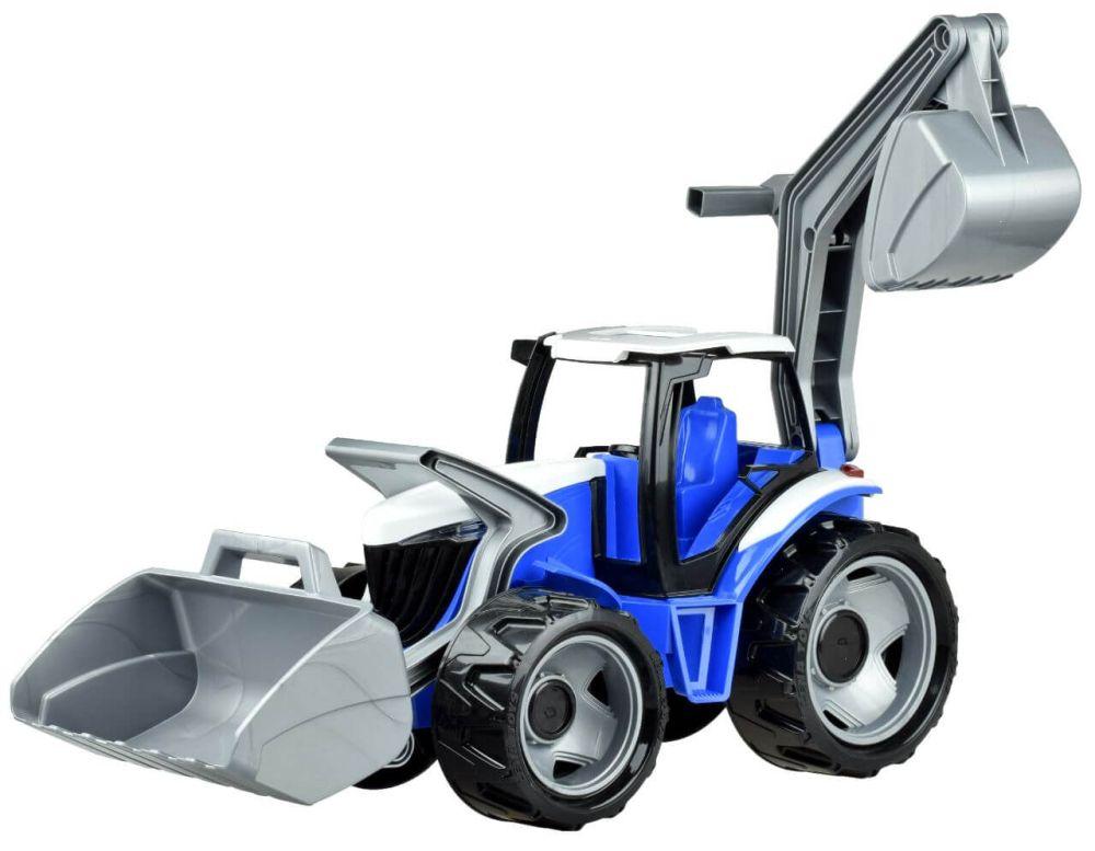 Traktor s lyžicou a bagrom, modro sivý